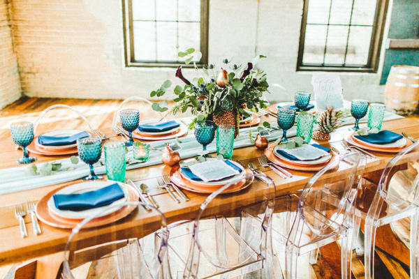 teal and copper reception table styling