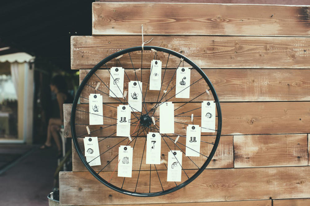 wedding seating plan vintage wheel