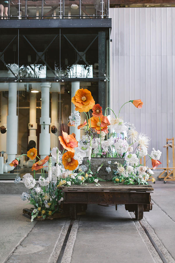 retro urban wedding floral display styling