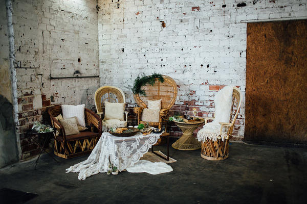 Hippy chic wedding lounge area idea