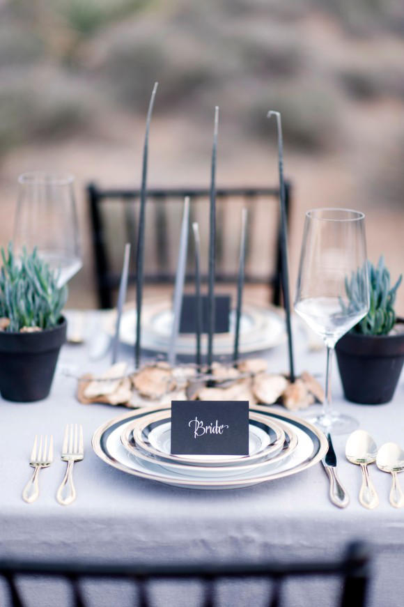monochrome wedding place setting