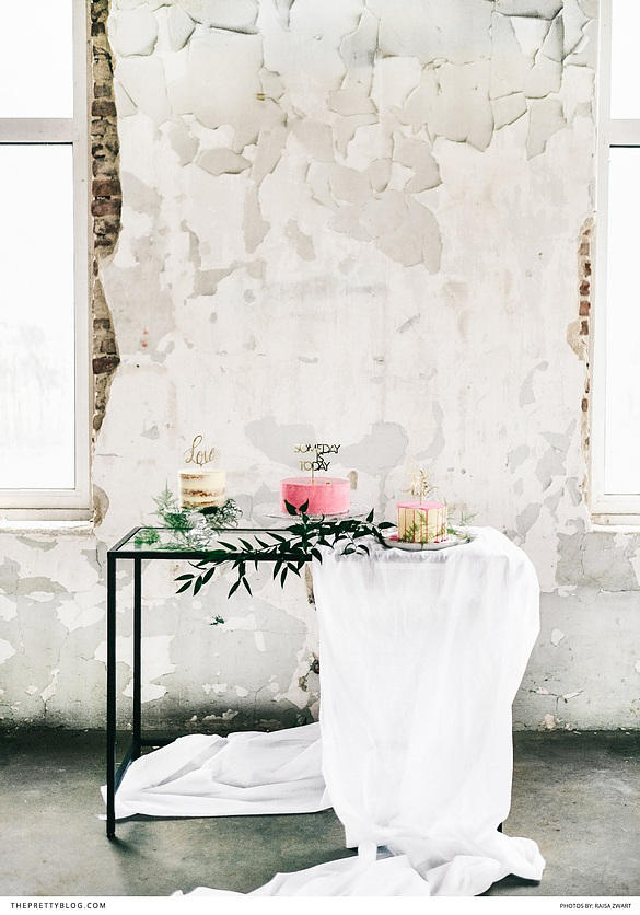 romantic industrial wedding cake styling