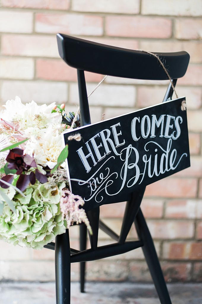 monochrome wedding sign style