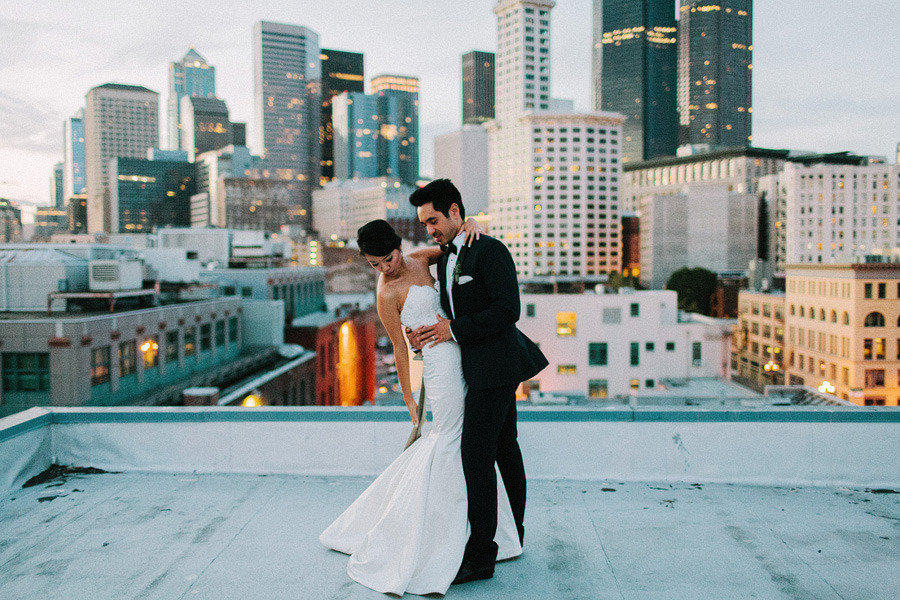 Urban Wedding Rooftop Scene