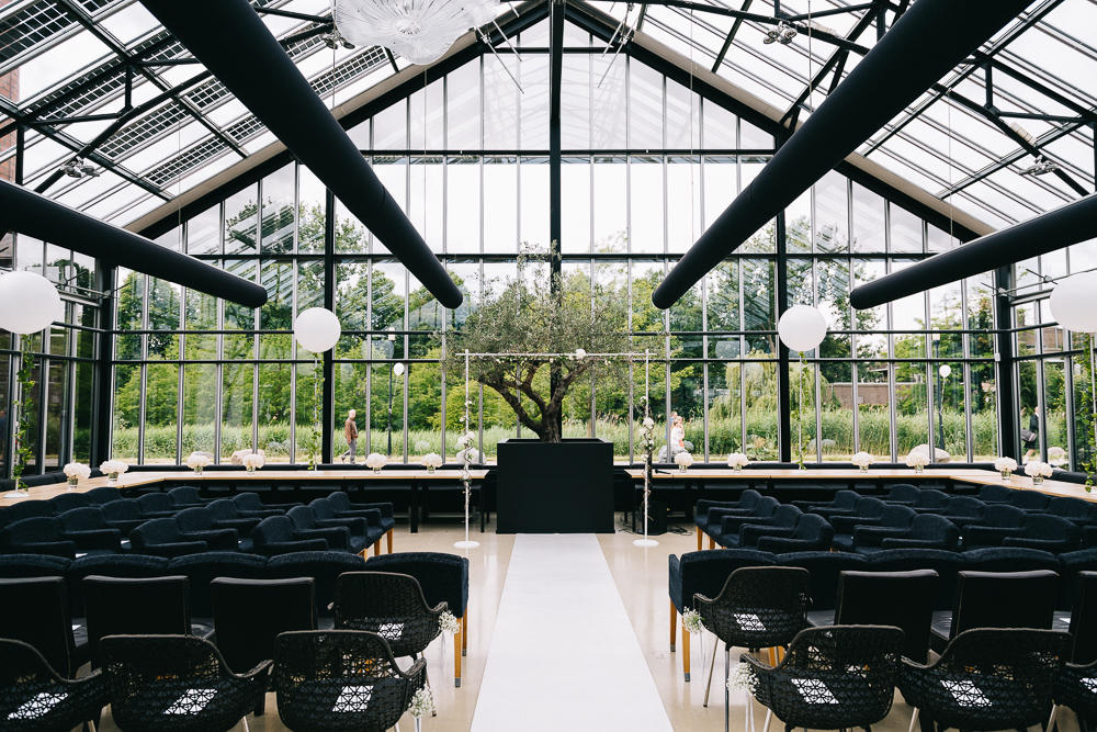 monochrome wedding black greenhouse