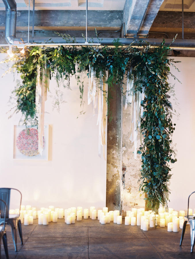 industrial wedding perspex and greenery backdrop