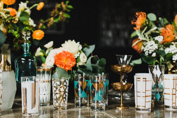 retro urban wedding bar styling