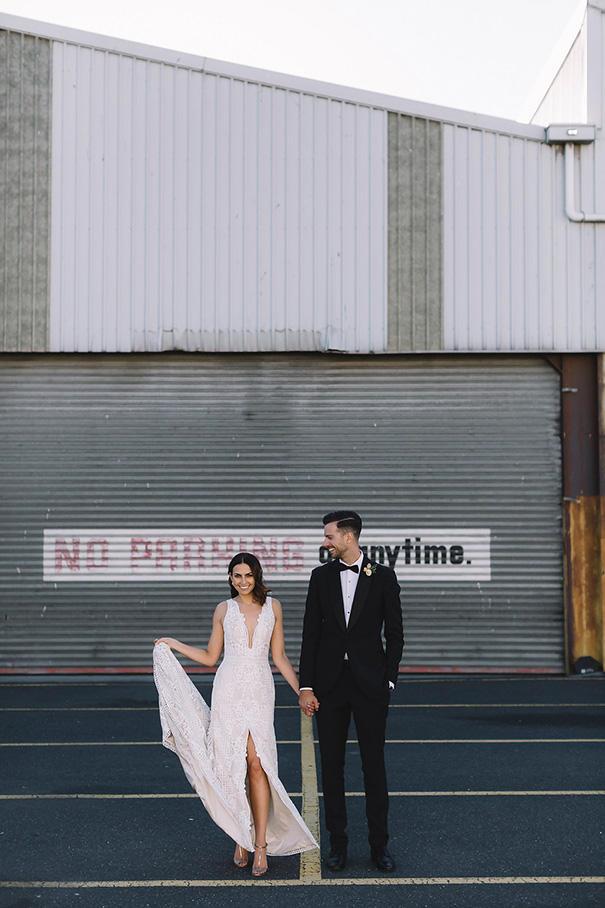Statement backdrop urban chic wedding