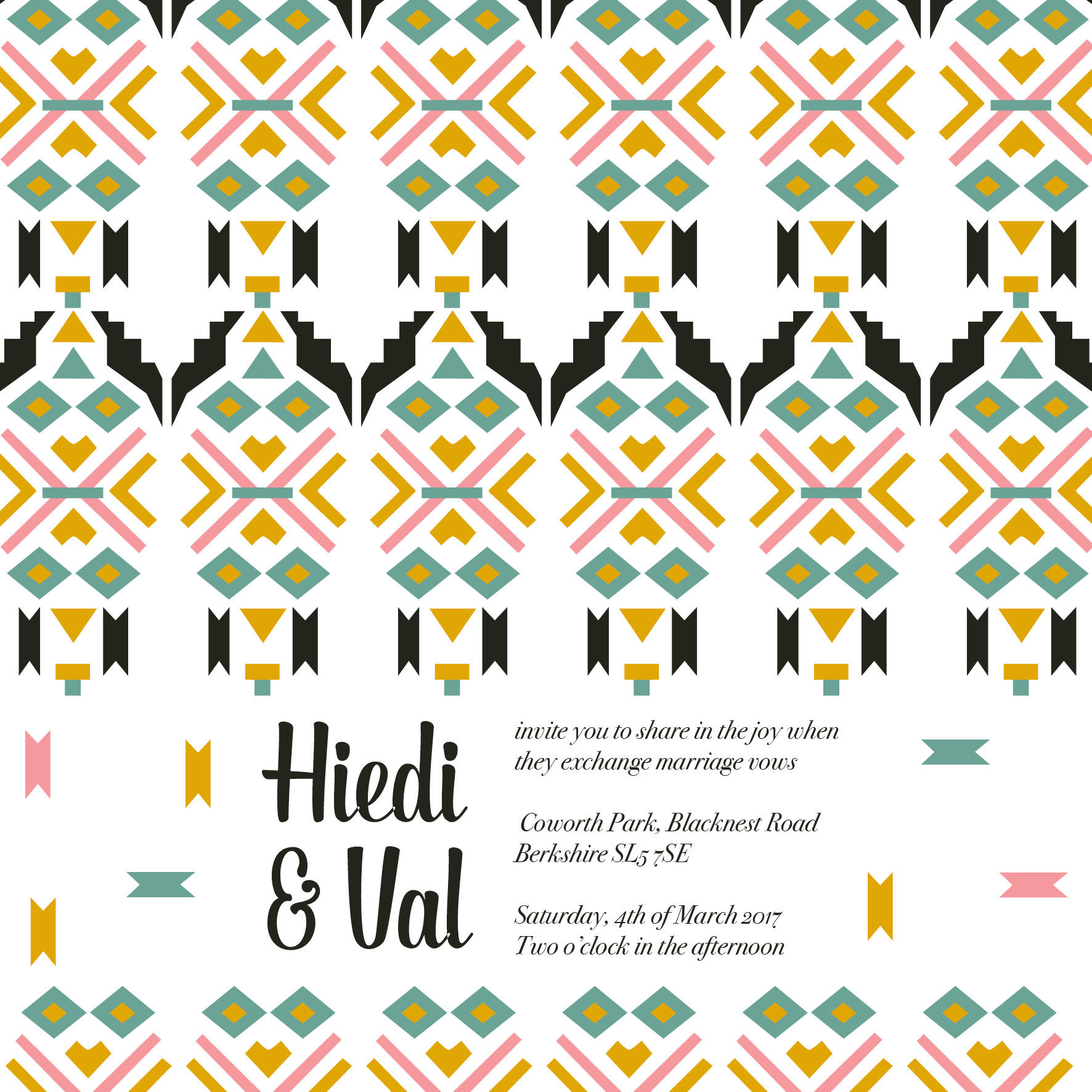 tribal wedding stationery