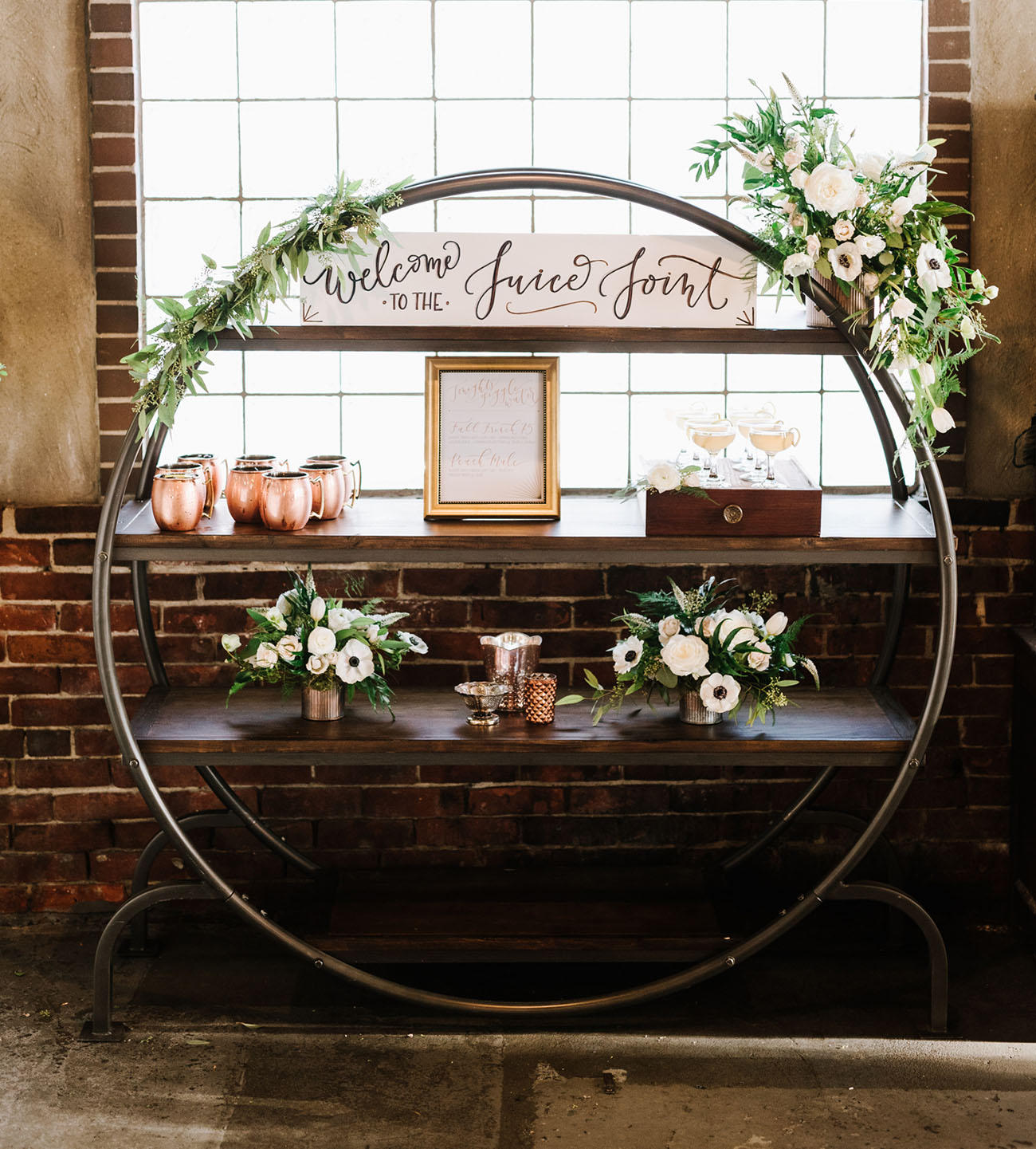 industrial wedding with greenery styling idea
