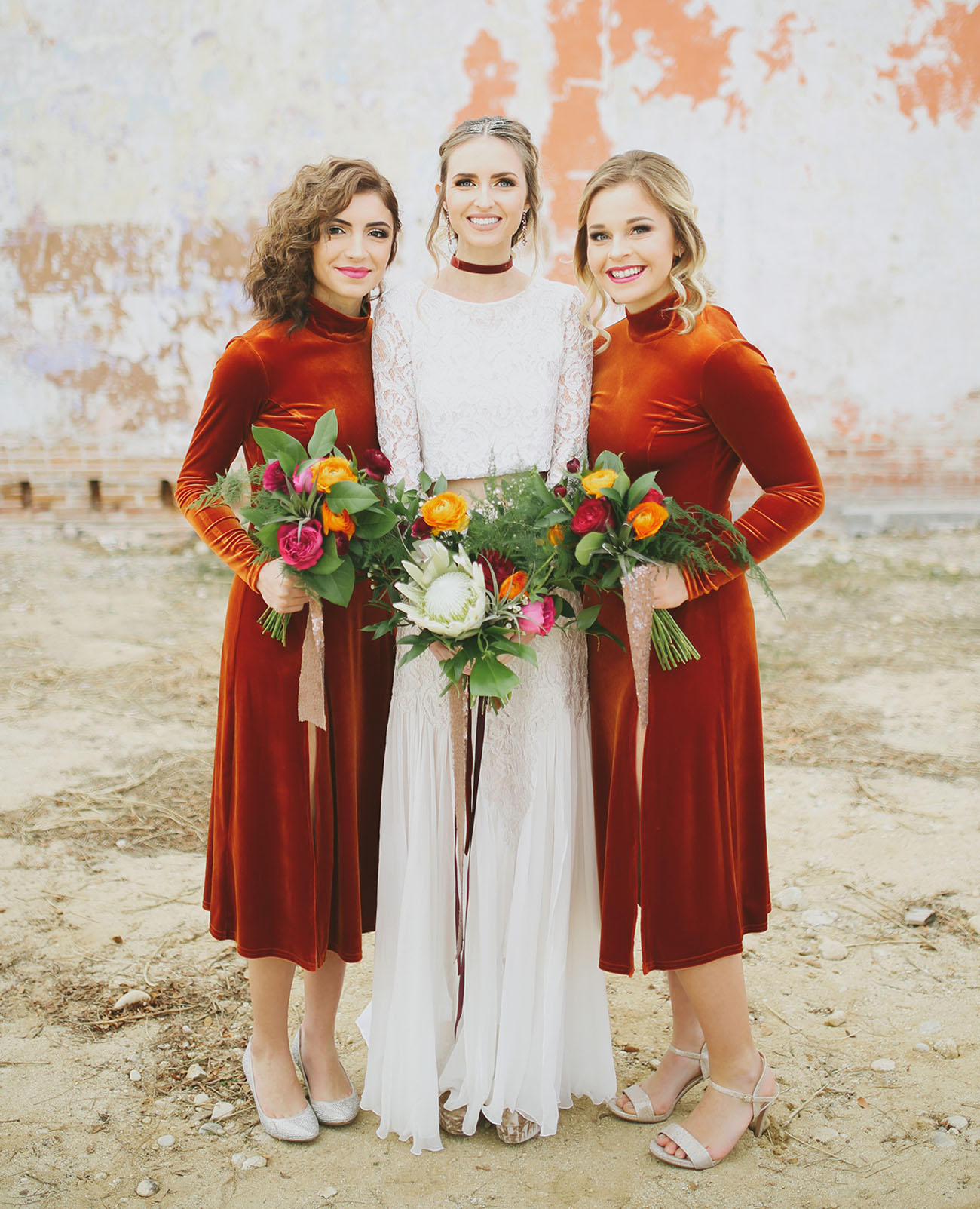 velvet wedding bride and bridesmaids