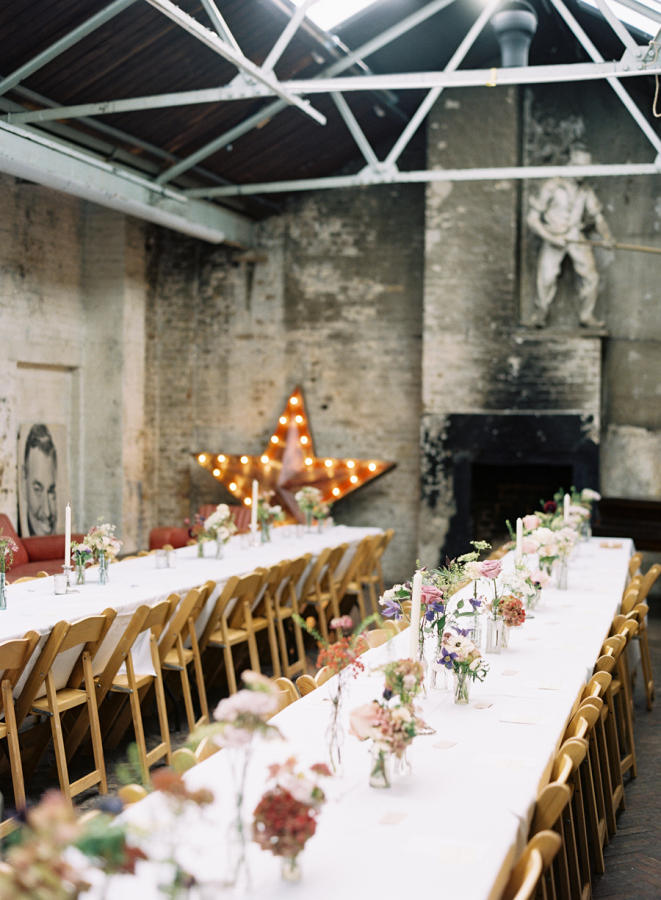 long tables for a warehouse wedding