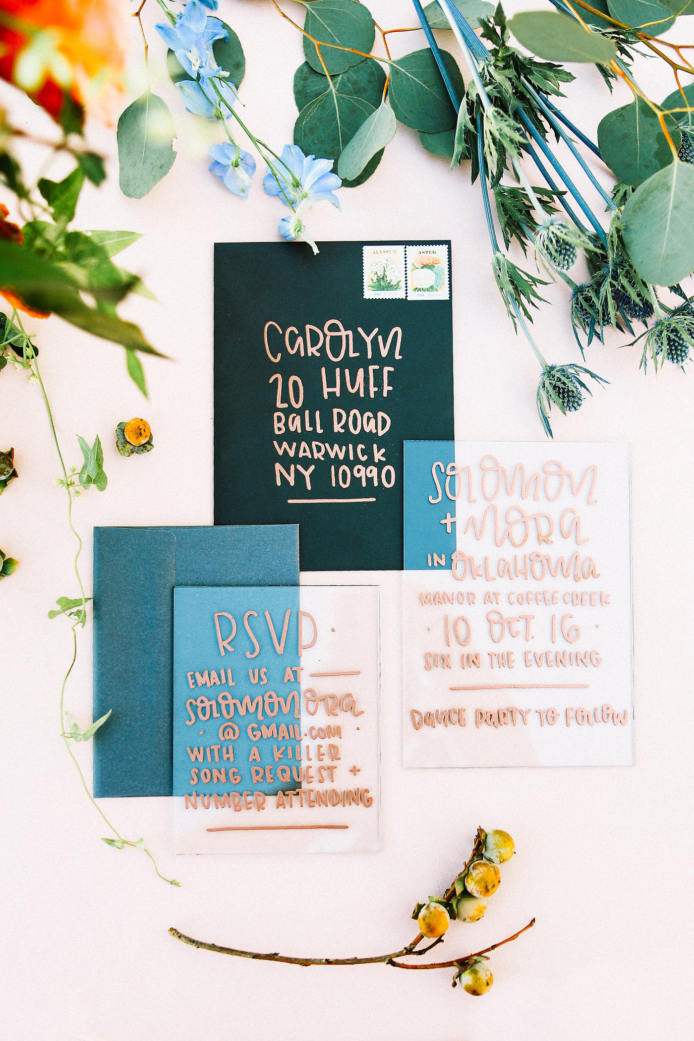 teal and copper wedding stationery