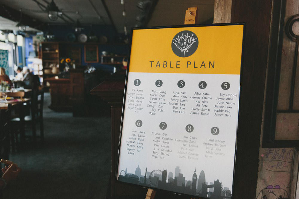 mustard yellow wedding table plan