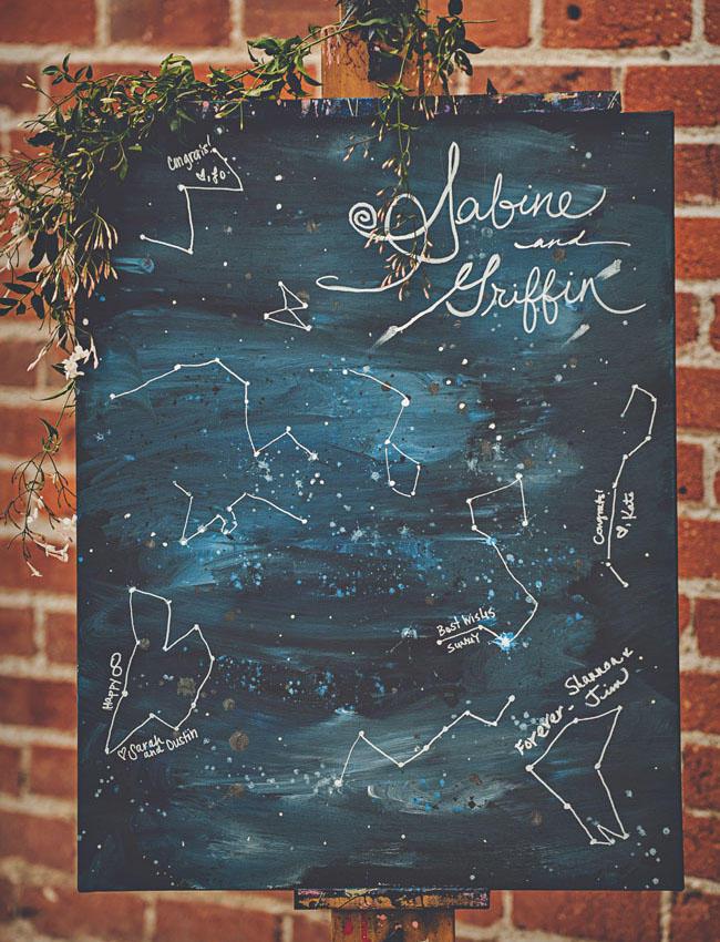 celestial wedding ideas welcome board