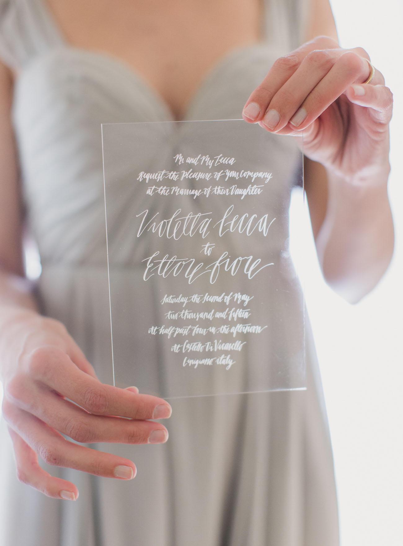 Transparent wedding invitation