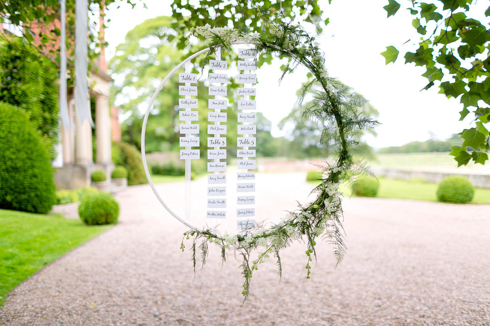 wedding seating plan floral hoop