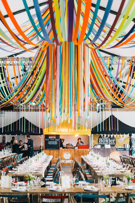 Warehouse wedding ribbon syling