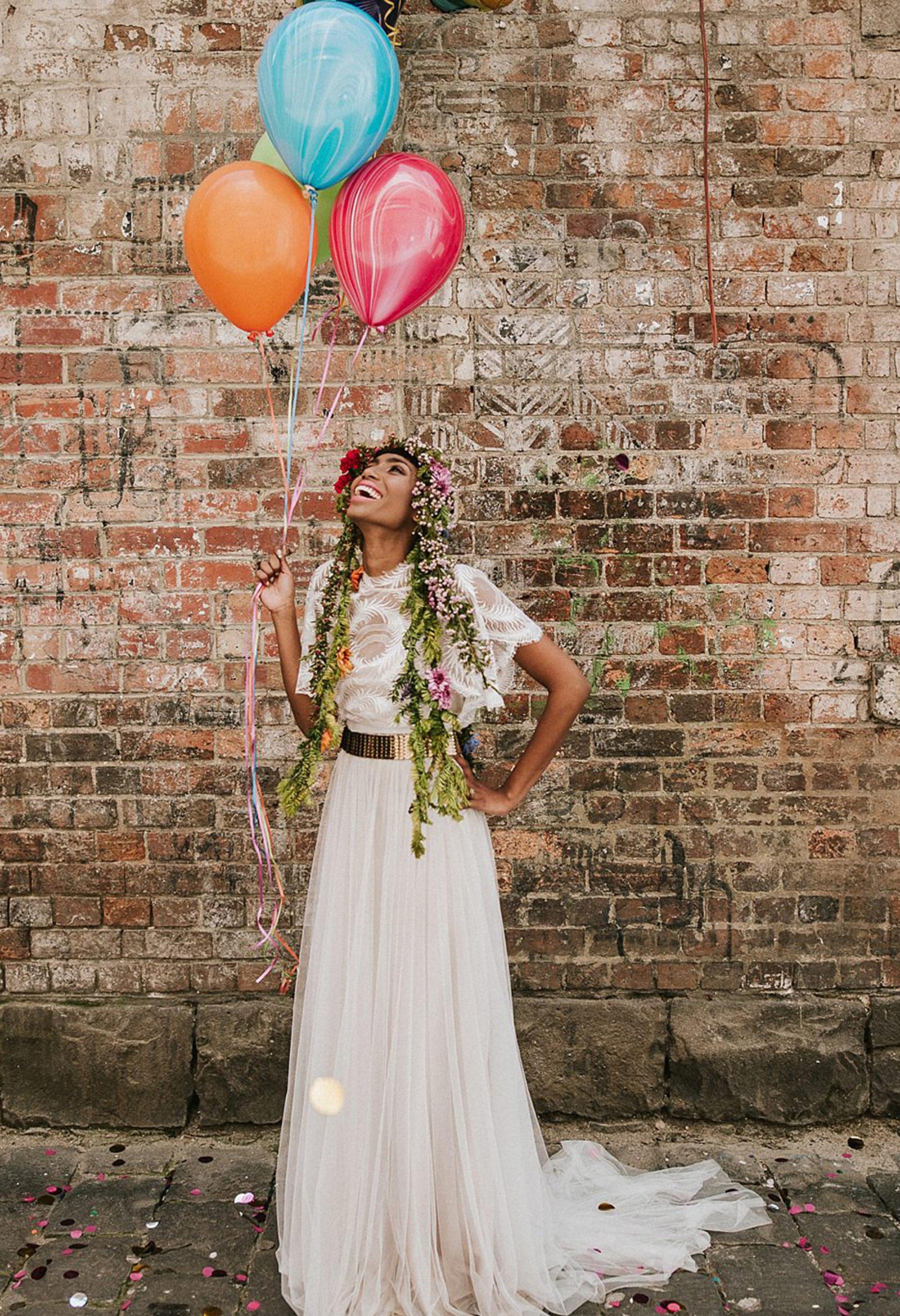 Warehouse wedding balloons styling