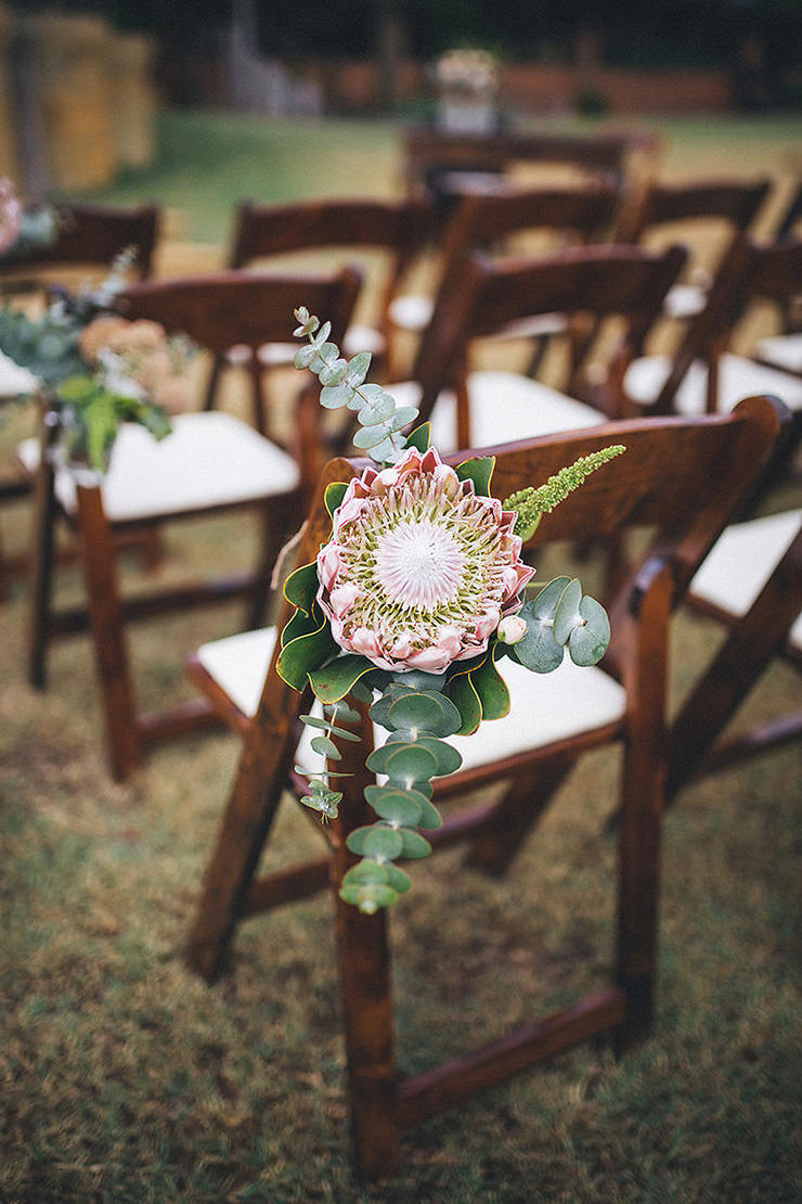 wedding succulents chair embellishment idea