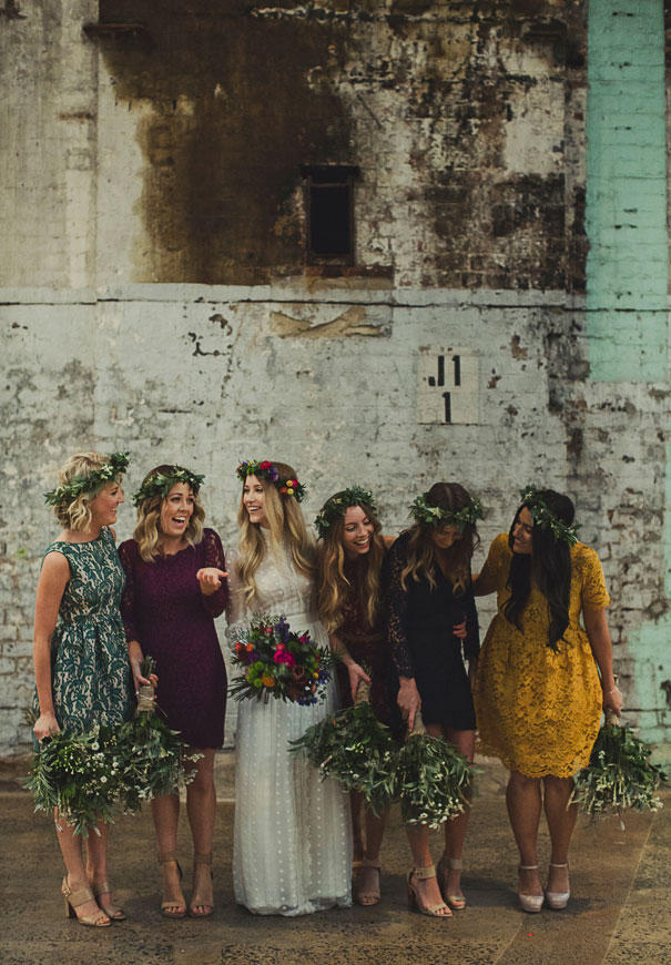 informal wedding group with bride and concrete elements