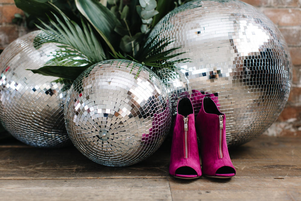 Wedding dance-floor mirror ball styling