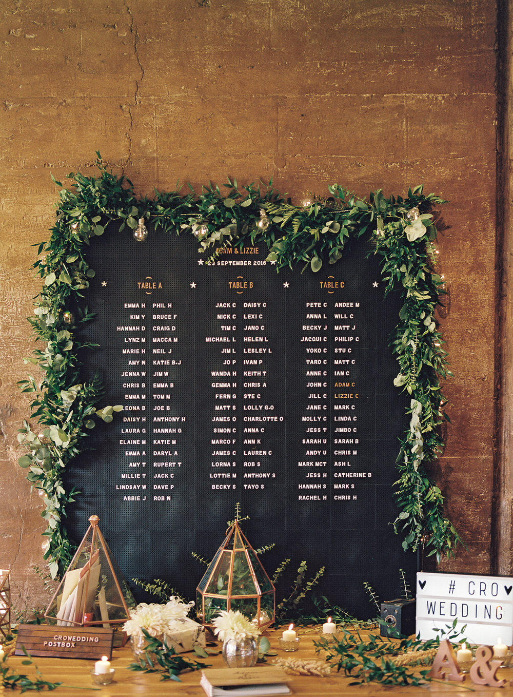 wedding seating plan styling idea
