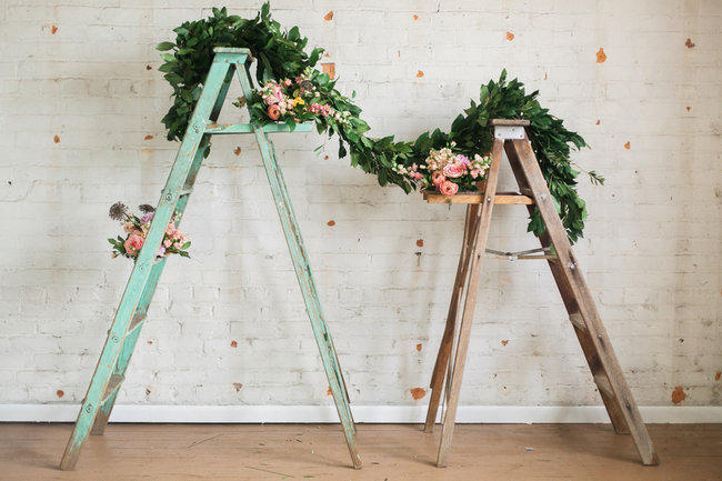 step ladder wedding ceremony backdrop