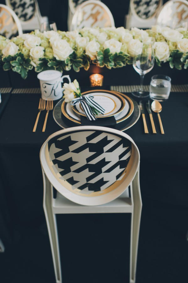 monochrome wedding dogtooth seating