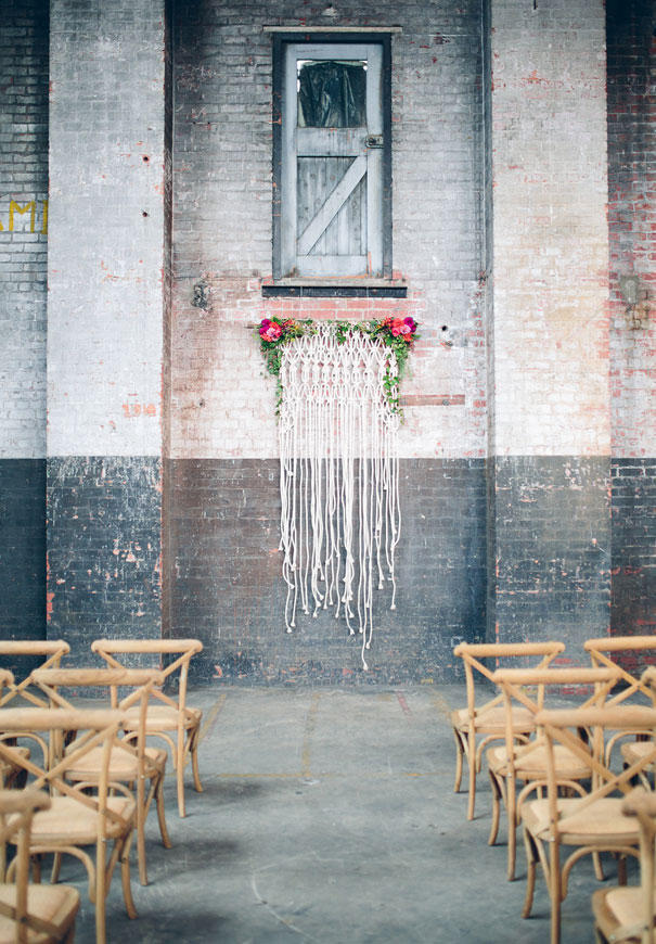 concrete wedding styling wall idea