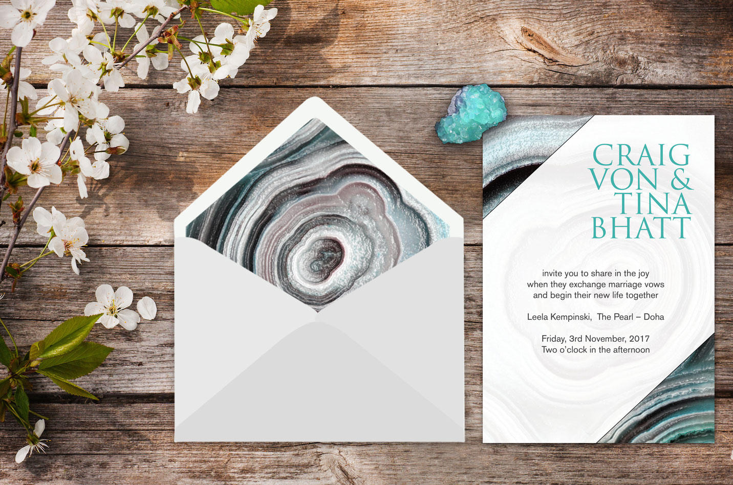 geode wedding stationery