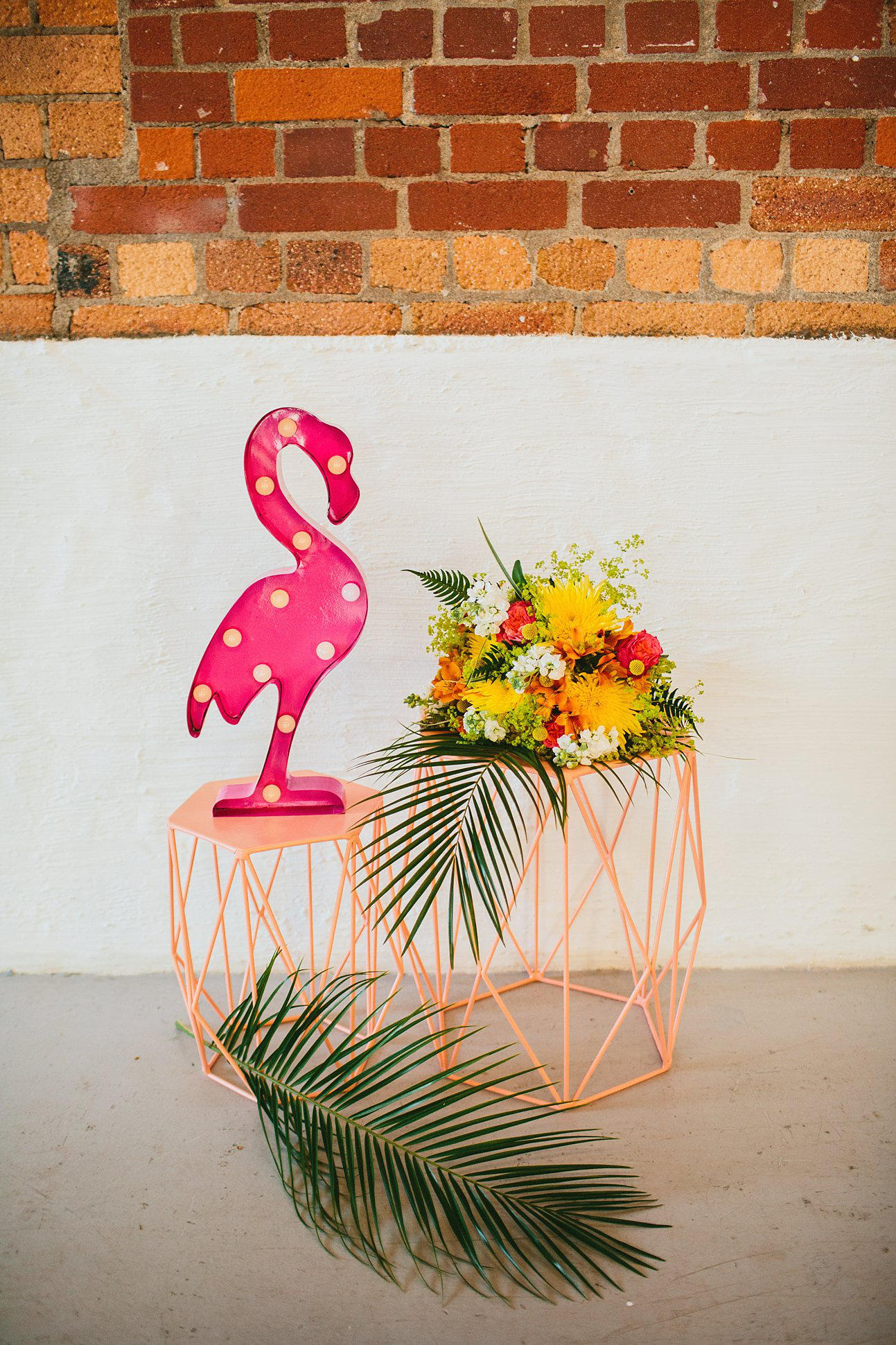 tropical wedding flamingo