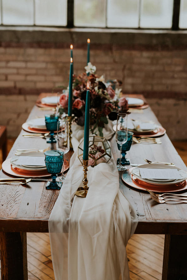 teal and copper wedding table styling