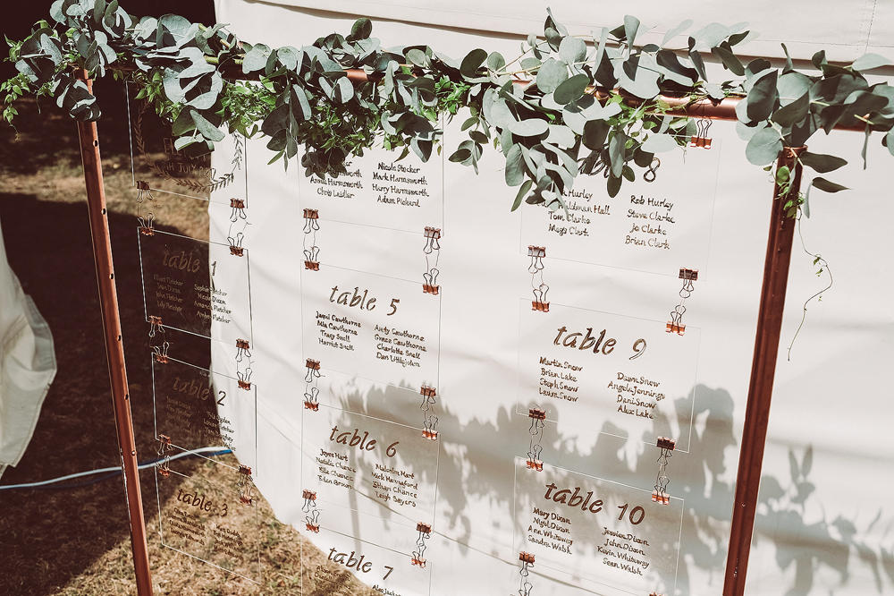 Wedding table plan ideas with perspex