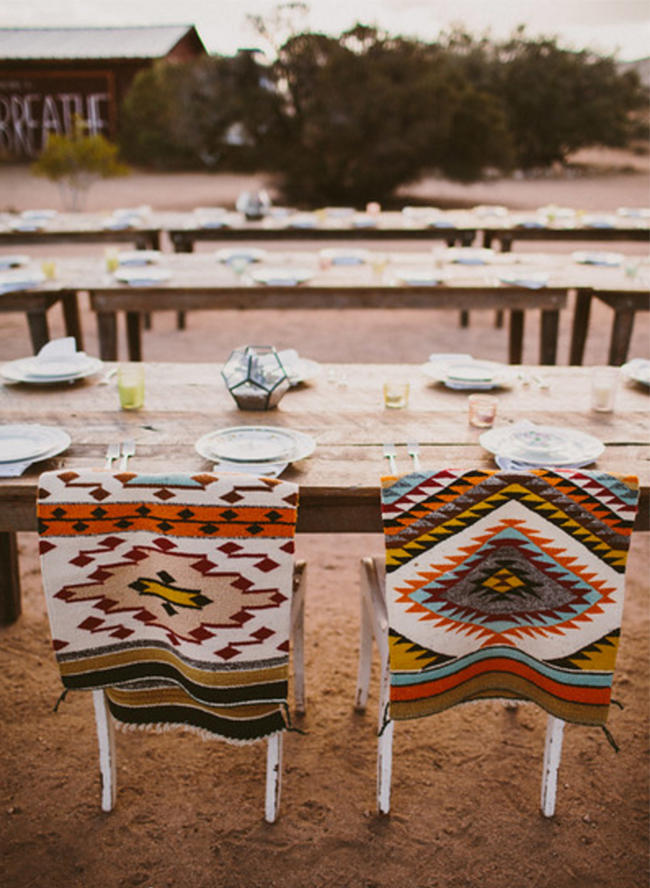 Coachella Festival Wedding seating styling