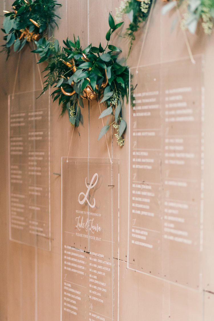 Cool perspex wedding table plan
