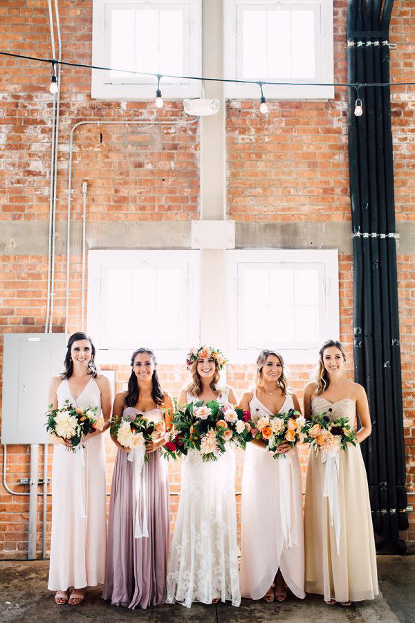 romantic industrial bride and bridesmaids