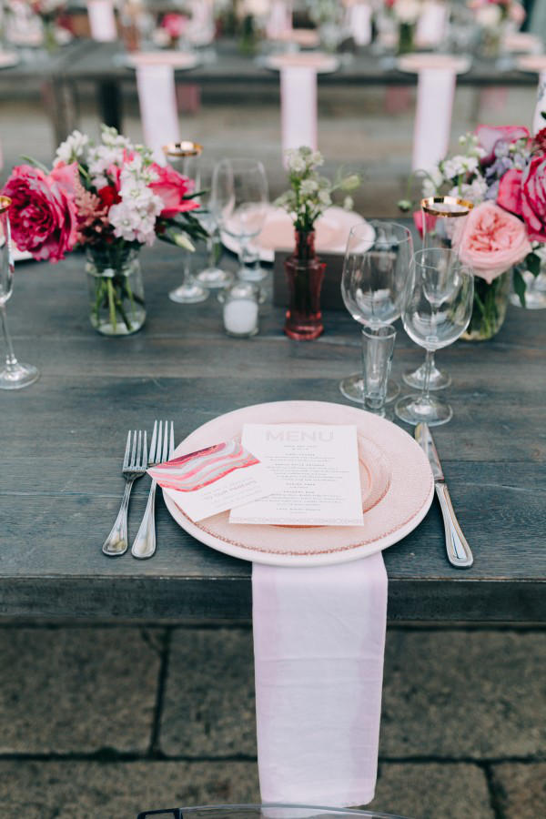 romantic industrial wedding place setting