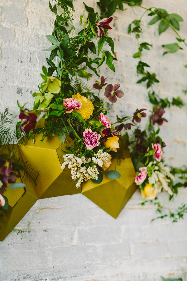 mustard yellow wedding floral wall display