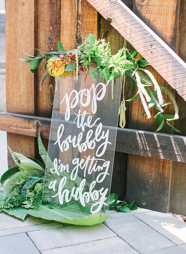 tropical wedding perspex sign styling