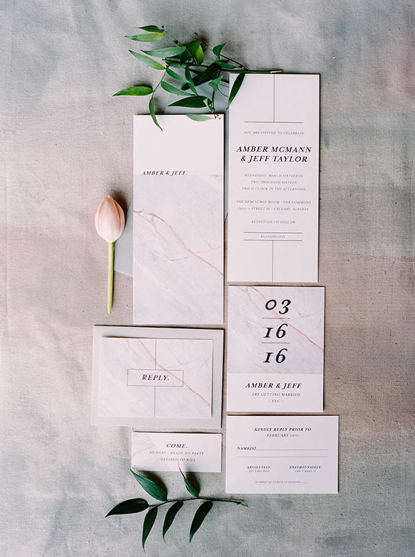marble trend wedding stationery