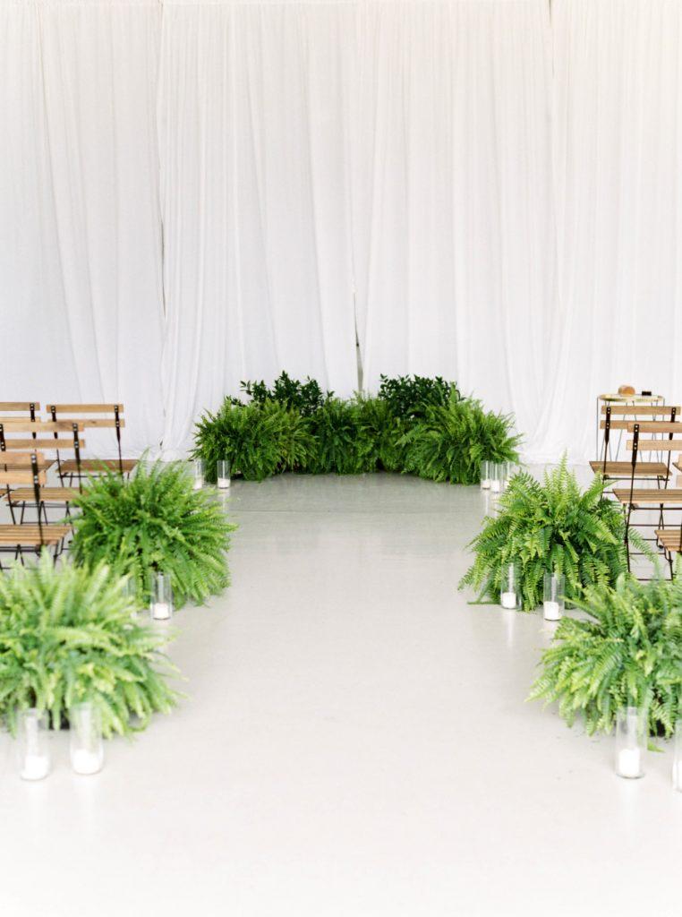 Statement wedding, greenery, ceremony decor