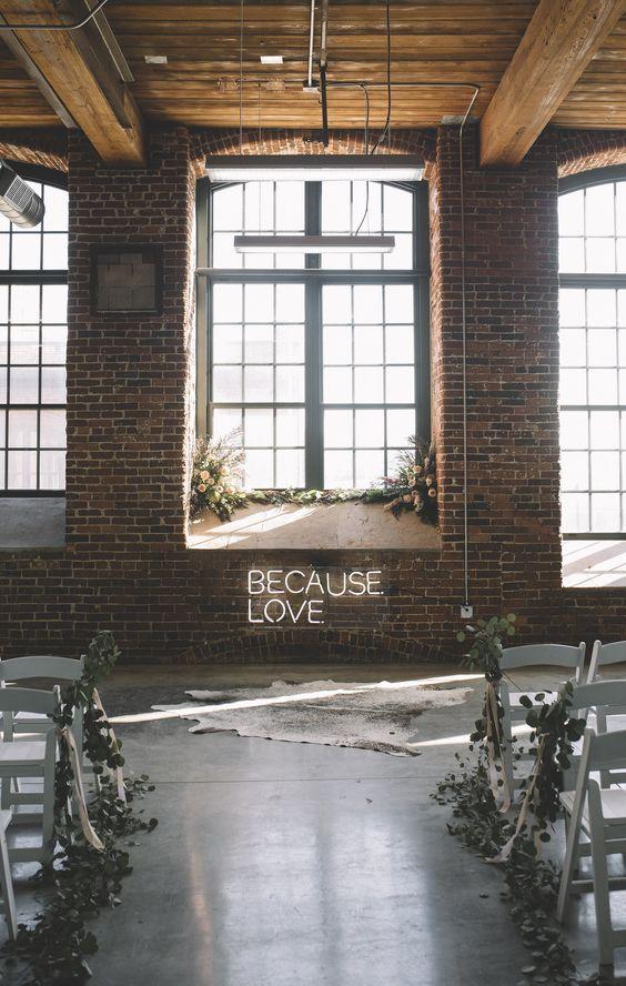 Statement wedding, neon sign, urban cool