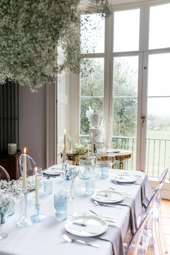 Tichea Brade as the Wedding stylist on this shoot. Beautiful wedding breakfast. Star Wars Styled Shoot in Essex. Tablescape White and blue.